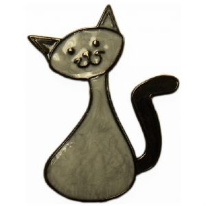 CacheCat (Cat) Geocoin - Pearlescent Silver / Black Nickel